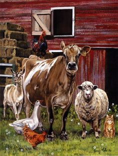 Bonnie Mohr Studio - home of Rural American, Inspirational and lots of cow art!Where art meets heart and celebrates life. The Barnyard, Barnyard Animals, Cute Animals, Barn Animals, Arte Country, Farm Paintings, Animal Paintings, Cabras Animal, Farm Art