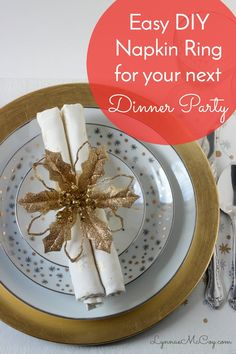 Believe it or not, this napkin ring is homemade - and only cost about $1.50 to make! It's super easy and dresses up any dinner place setting! Dishes in the photo are available at Walmart.
