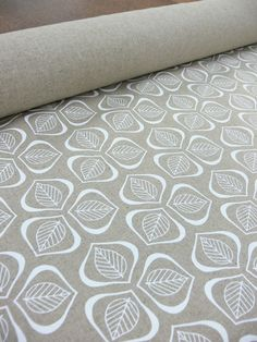 Leaves Handprinted Fabric  Chalk by Mookah on Etsy, $20.00