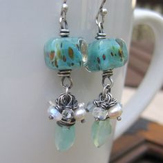 Lampwork Gemstone Earrings Sterling Silver by loriyab on Etsy