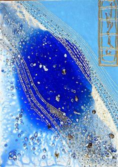 "WATERFALL 27.55"" X 19.68"" / 70 X 50 cm Acrylic, pastes, resin, shells, swarovski crystals on canvas"
