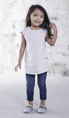 Blue jean baby! Your little girl will love the way the toddler girls jeans feel, and you'll love the cute cut (and the price!). Pair the jeans with a white tee and blue ballet flats for a look that's as classically cute as can be.