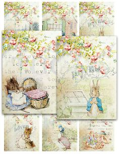 NEW! Shabby Cottage PETER RABBIT and friends jemima duck benjamin bunny Digital Collage Sheet jewelry atc Vintage Instant Download