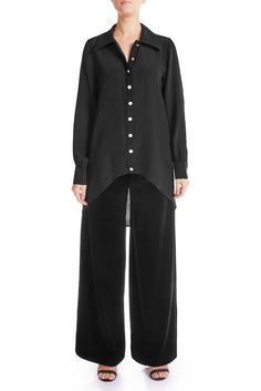 CLASSY Silk Crepe De Chine Shirt - MIDNIGHT | HAUS OF SONG Signature Collection, Mulberry Silk, Silk Crepe, Leather Design, Black Silk, Duster Coat, Leather Pants, Denim Shorts, Women Wear