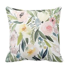 Watercolor Floral Pillow http://www.zazzle.com/blossoms_and_blooms?rf=238099503584605439