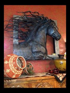 ༻❁༺ ❤️ ༻❁༺Metal Horse Sculpture From Adobe Interiors ༻❁༺ ❤️ ༻❁༺