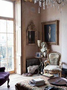 ~*~ powdery /chalky old world interior ... still maintains a resonance now due to it's exquisite, eclectic pieces & relaxed elegance