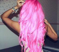 Pink bright hair cute