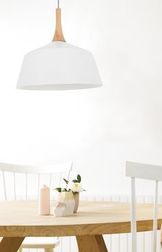 light pendant in matt white with ashwood shade. Beacon Lighting, Cord Cover, Ranch Style Homes, Dining Area, Shelving, Ash, Pallet, Mid-century Modern, Kitchen Ideas