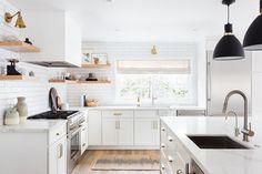 3 Flattering Tips AND Tricks: Split Level Kitchen Remodel Simple kitchen remodel peninsula interior design.Split Level K Painting Kitchen Cabinets, Kitchen Paint, Kitchen Shelves, Kitchen Storage, Glass Cabinets, Dark Cabinets, Kitchen Organization, Young House Love, All White Kitchen