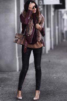 leather jacket, faux fur stole, gucci bag