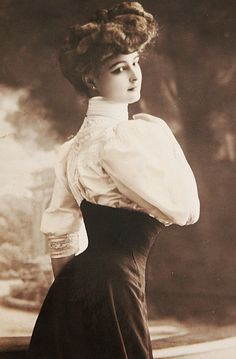 Gibson Girl: An idealized American girl created by the illustrator Charles Dana Gibson. She was a girl of the Edwardian era that was tall, slender, with an s shaped torso, stylish with pompadour.
