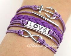 bracelet,infinity bracelet, anchor bracelet, love bracelet,purple bracelet, bridesmaid bracelet, to your lover