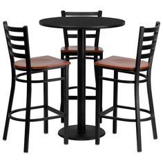 30 Round Black Laminate Table Set With 4 Ladder Back