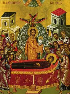 Icon of the Dormition of the Theotokos.  Mary lies on the bier, while carried in procession to the tomb. Christ holds her soul in his arms.