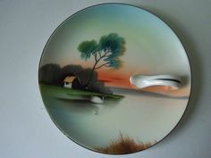 Vintage- Noritake Handpainted Nappy, or Dish with Handle, Landscape with Swan