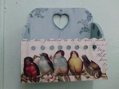 g Tole Painting, Painting On Wood, Collage Art Mixed Media, Beautiful Birds, Wood Crafts, Stencils, Projects To Try, Artsy, Ephemera