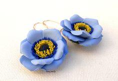 Flower earrings  #Blue #earrings  Windflower  by insoujewelry