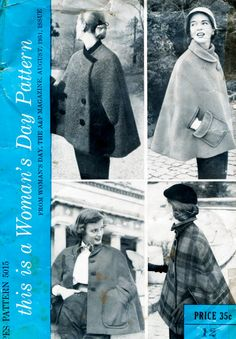 1950s 50s Vintage Sewing Pattern Cape in 4 styles peter pan collar double breasted shawl Bust 30 B30 Woman's Day 5015