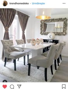 Ideas for Decorating an Elegant Dining Room Dining Room Table Decor, Dining Room Design, Dining Room Furniture, Dinning Set, Luxury Dining Room, Elegant Dining Room, Rooms Home Decor, Room Decor, Dinner Room