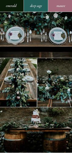 Emerald, deep sage and mauve is a naturally, enchanting colour palette that transforms your outdoor fall wedding into a dreamy storybook setting. An abundance of eucalyptus leaves with scattered ranunculus effortlessly take your table from bare to lush! Emerald Wedding Colors, Emerald Green Weddings, Mauve Wedding, Winter Wedding Colors, Winter Weddings, Blue Weddings, Burgundy Wedding, Fairytale Weddings, Rustic Weddings