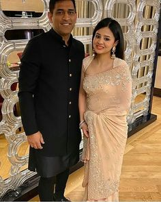 MS Dhoni and Sakshi dress up traditionally for a function Ethnic Outfits, Indian Outfits, Ms Dhoni Wife, Ms Dhoni Photos, Girls Phone Numbers, Stylish Blouse Design, Indian Party Wear, Art Silk Sarees, Mahi Mahi