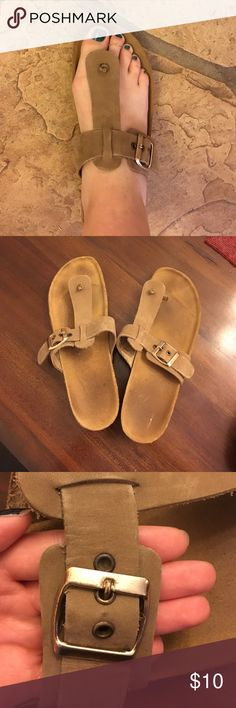 Tan Wedge Sandals Birkenstock like sandals. Worn but still in good condition. Cato Shoes Wedges