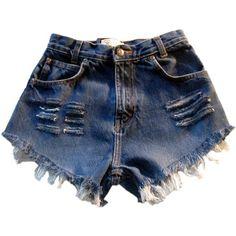 Vintage, cut off,  jeans,  shredded,  damaged,  fray,  grunge, omen eye, short, shorts, blue $39.99