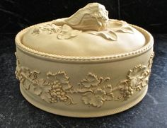 ANTIQUE WEDGWOOD CANEWARE OVAL COVERED GAME DISH W/ APPLIED LEAVES & GRAPES