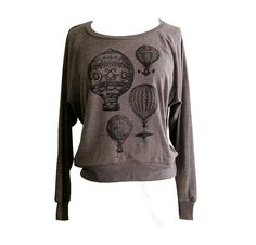 Hot Air Balloon Raglan Sweatshirt - Vintage Steampunk Balloons Sweater American Apparel SOFT vintage feel - Available in sizes S, M, L