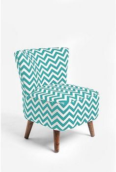 """Ziggy Chair (Urban Outfitters) - I realize that chevron is a pattern on the way """"out"""" but I think it's fun and enjoy the color.  Who cares if something is """"out"""" as long as you enjoy the style :)"""