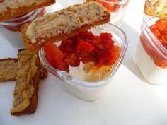 recette verrines crème de poulet au parmesan compotée de tomates et poivron croûtons au parmesan