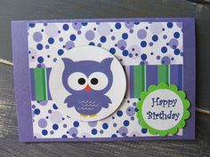 Handmade Purple Owl Birthday Card