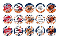 """Chicago Bears Bottle Cap 1"""" Circle Images Sheet #10x instant download or precut"""