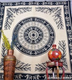 Cream Tapestry Indian Mandala Boho Ethnic Wall Hanging Hippie Decor Bohemian Art #JaipurKalaKendra