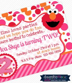 Printable Party Invitation-Girly Elmo Pink Orange and Red Design