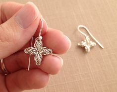 Cross Earrings - 4-Point Star Chainmaille (4 Winds weave) via Femailler on Etsy.