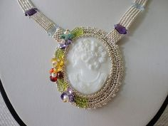 statement necklace with multy gemstone silver necklace glass cameo seed bead jewelry beaded necklace gemstone jewelry victorian fine jewelry by veroniquesjewelry. Explore more products on http://veroniquesjewelry.etsy.com