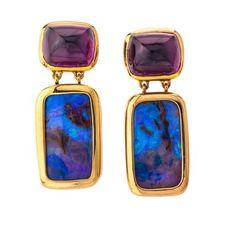 Opal Amethyst Earrings by Katherine Jetter