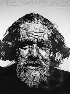 """Willie 57"" print by Neil Shigley, (1955-) http://neilshigley.com/ Tags: Linocut, Cut, Print, Linoleum, Lino, Carving, Block, Woodcut, Helen Elstone, Profile, Portrait, Face, Man, San Diego, Large-Scale Printing, The Invisible People Series."
