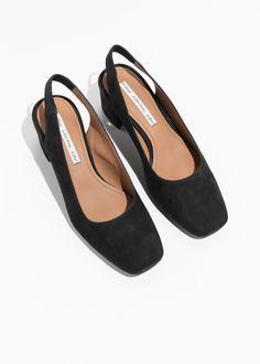 Suede Slingback Ballet Pumps - Black - Pumps - Other Stories Black Pumps, Black Suede, Walking In High Heels, Slingback Pump, Sperry Shoes, Suede Shoes, Flat Shoes, Snow Boots, Comfortable Shoes