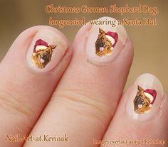 Christmas German Shepherd Dog Nail Art Stickers wearing by Kerioak