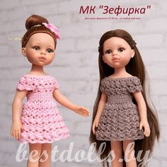 Стена Crochet Doll Dress, Crochet Barbie Clothes, Crochet Doll Pattern, Knitted Dolls, Girl Doll Clothes, Doll Clothes Patterns, Girl Dolls, Afghan Crochet Patterns, Vestidos Nancy