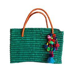 Bolsa de palha pompom color - azul - shoplixmix