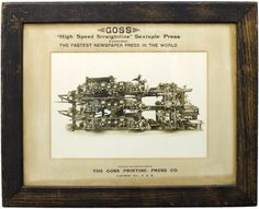 This large framed photograph advertises a newspaper printing press highlighting the complexity and sophistication of the huge piece of machinery as evidence of its advanced technology. The photograph, dating from around the 1910s, is set in its original mat with printed advertising slogans, all in its original stained oak frame.