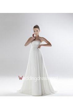 Elegant Strapless Empire Sweep Train Wedding Dresshttp://www.weddingdresstrend.com/en/elegant-strapless-empire-chapel-train-bridal-gown.html