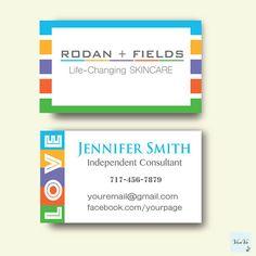 Rodan and Fields Business cards, Elegant Rodan and Fields, Personalized Business Card, Product Images on Back, Printable 0073