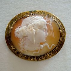 Antique Victorian Carved Shell Cameo Brooch of Medusa