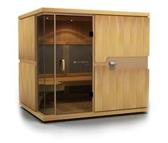 Product of the Week  The mPulse from Sunlighten Inc. This product is a full-spectrum infrared sauna designed to allow users to control the heater's setting, which ranges from near-infrared light that aids in pain and muscle relief, mid-infrared light that assists in fat burning and weight loss, to far-infrared light that deepens the core sweat and is whole-body detoxifying. It features a Blaupunkt stereo system, an LCD touchscreen interface, a CD/DVD player, and ergonomic floating benches.