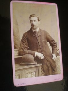 Cdv Old Photograph Man Bowler Hat By Winter At Derby C1880s Ref 502 A